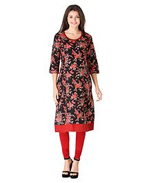 Morph Three Fourth Sleeves Maternity Kurti Floral Print - Black Red