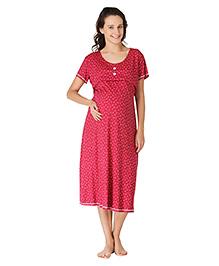 Morph Short Sleeves Maternity Nighty Floral Print - Red