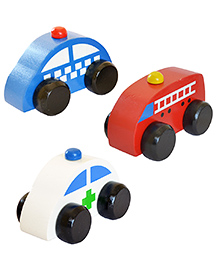 Shumee Wooden Help Squad Cars Pack Of 3 - Blue Red White
