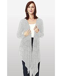 Nine Maternity Full Sleeves Cotton Shrug - Grey