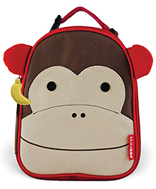 Skiphop Insulated Lunch Bag Monkey Design Brown Cream - 9 Inches