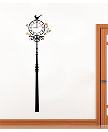 Syga Royal Lamp Clock Design Wall Sticker - Black