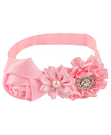 Baby Angel Floral Headband With Pearl - Pink