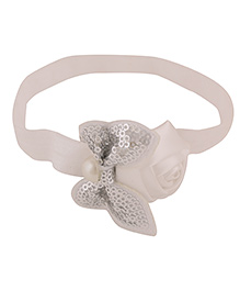 Baby Angel Sequin Bow Headband For Baby Girl - White