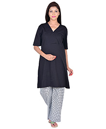 9teenAGAIN Half Sleeves Maternity Nursing Top And Pajama - Black
