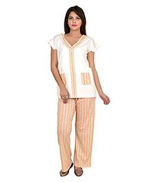 9teenAGAIN Half Sleeves Nursing Night Suit - Peach Cream