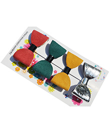 Little Tresses Combo Of 4 Bow Alligator Clips - Red Green Yellow & Silver