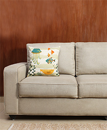 HouseThis The Jello Hello Pure Cotton Cushion Cover - Blue Yellow & Orange