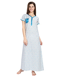 Eazy Front Open Maternity Nursing Nighty Gown With Pocket - Blue