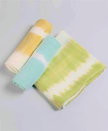 Little West Street Tie Dye Swaddle Set - Green Blue & Orange