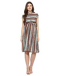 Mine4nine Short Sleeves Maternity Dress Stripe Print - Off White