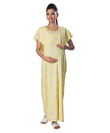 Kriti Maternity Round Neck Nighty Floral Print - Yellow