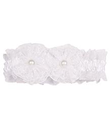 Miss Diva Double Flower & Floral Soft Headband - White