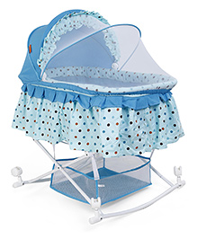 Baby Cradle With Mosquito Net Dotted Print - Blue