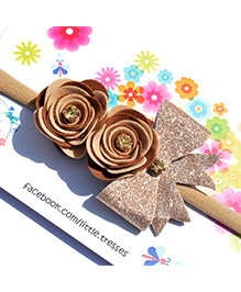Little Tresses Double Rose With Bow On Soft Stretchable Headband - Brown