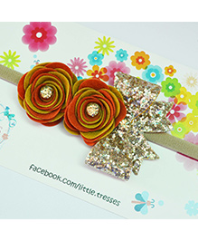 Little Tresses Double Rose With Bow On Soft Stretchable Headband - Golden