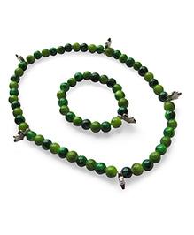 Milonee Gradient Beads Bracelet And Neckpiece Set - Dark Green & Light Green