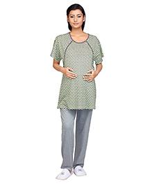 Kriti Half Sleeves Maternity & Nursing Top With Pajama Night Wear - Green Black