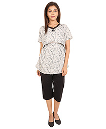 9teenAgain Maternity Nursing Top And Capri Floral Print - Light Grey Black