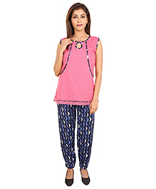 9teenAgain Maternity Nursing Top And Pajama - Pink Blue