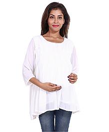 9teenAgain Three Fourth Sleeves Maternity Tunic Top - White
