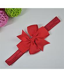 Little Miss Cuttie Trendy Bow Applique Headband - Red