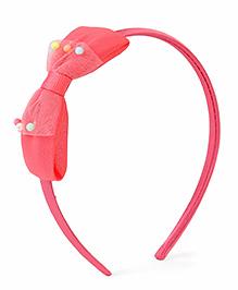 Stol'n Hair Band With Designer Bow Applique - Peach