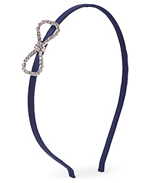 Stol'n Hair Band Studded Bow Applique - Navy