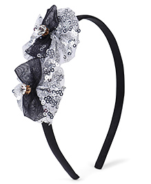 Stol'n Hair Band Studded Bow Appliques - Silver Black