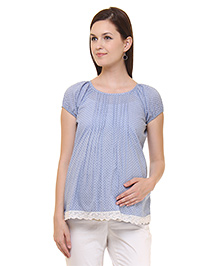 Preggear Short Sleeves Maternity Top Printed - Blue