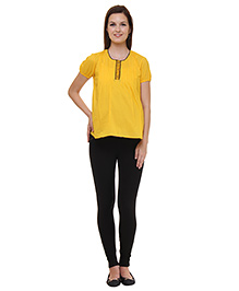 Preggear Half Sleeves Maternity Top Solid Color - Yellow