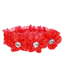 Miss Diva 3 Flower Shinning Diamond Flower Soft Headband - Red