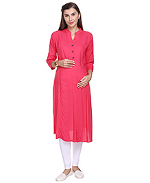 MomToBe Three Fourth Sleeves Maternity Kurti - Peach