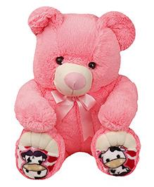 Liviya Sitting Teddy Bear With Ribbon Bow Soft Toy Pink - Height 77 Cm