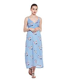 Oxolloxo Singlet Maternity Dress Butterfly Print - Blue
