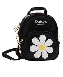 Abracadabra Faux Leather Bag Daisy Patch Black - Height 9 Inches