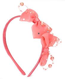 Babyhug Hair Band Pearl Bow Applique - Peach