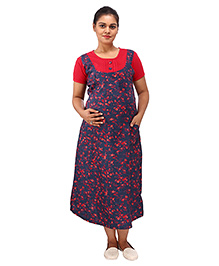 Mamma's Maternity Short Sleeves Dress With Pocket Floral Print - Blue Red