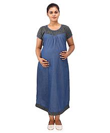 Mamma's Maternity Short Sleeves Dress Checks Print - Blue Yellow