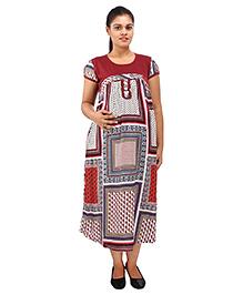Mamma's Maternity Short Sleeves Dress Floral Print - Maroon