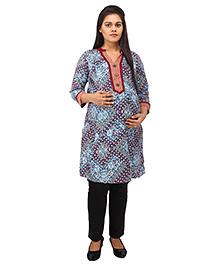 Mamma's Maternity Three Fourth Sleeves Nursing Kurti Multi Print - Maroon Blue