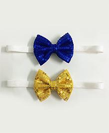Knotty Ribbons Set Of 2 Sequin Bow Headbands - Dark Blue & Yellow