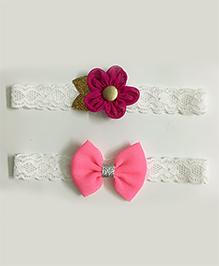 Knotty Ribbons Set Of 2 Glitter Flower & Bow Headbands - Light Pink & Dark Pink