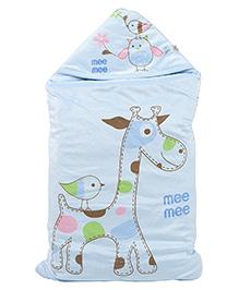 Mee Mee Blanket With Hood With Giraffe Print - Blue