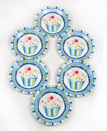 Funcart Disposable Paper Plates Cupcake Theme Blue Pack Of 6 - 22.8 Cm Each