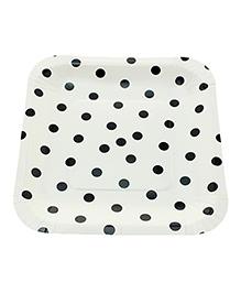 Funcart Square Shape Paper Plates Polka Dots Print Black & White - 12 Pieces