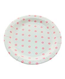 Funcart Circle Shape Paper Plates Polka Dots Print Pink & White - 12 Pieces