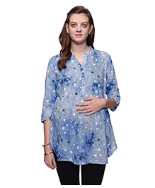Mamma's Maternity Three Fourth Sleeves Nursing Top Star Print - Light Blue