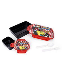 Disney Mickey Mouse Lunch Box With Spoon, Fork & Small Box - Red & Black