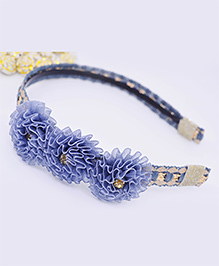 Little Tresses Partywear Flower Hairband - Grey & Blue